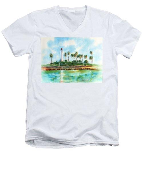 Long Beach Lighthouse  Version 2 Men's V-Neck T-Shirt