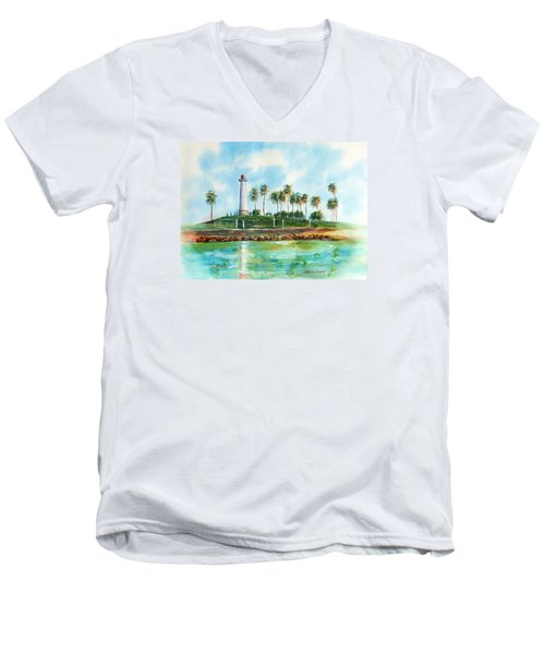 Long Beach Lighthouse  Version 2 Men's V-Neck T-Shirt