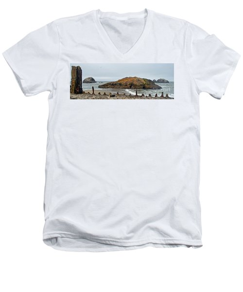 Looking Out On The Pacific Ocean From The Sutro Bath Ruins In San Francisco  Men's V-Neck T-Shirt by Jim Fitzpatrick