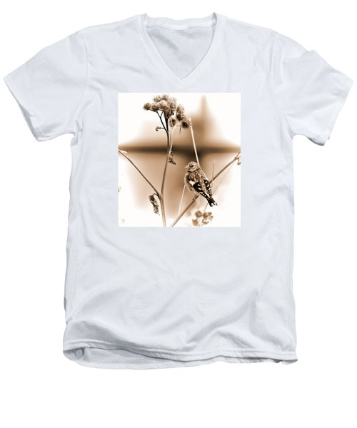 Men's V-Neck T-Shirt featuring the photograph Looking Sep Small Brown Grey Yellow And Black Bird Posing For Portrait On A Branch Of A Plant by Leif Sohlman