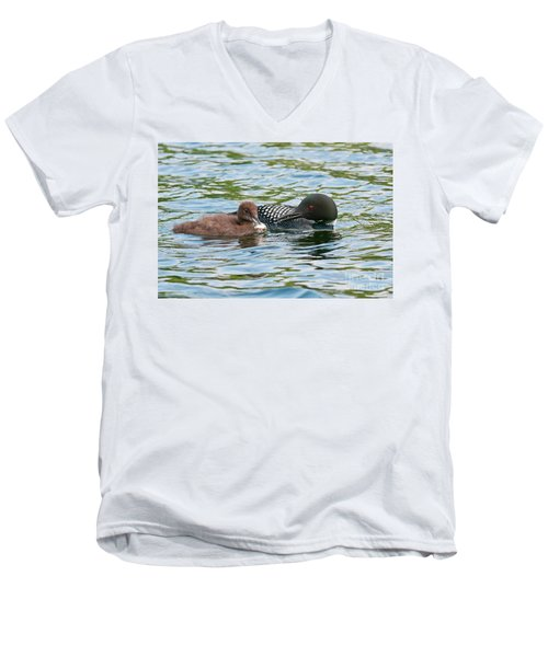 Loon And Baby Men's V-Neck T-Shirt