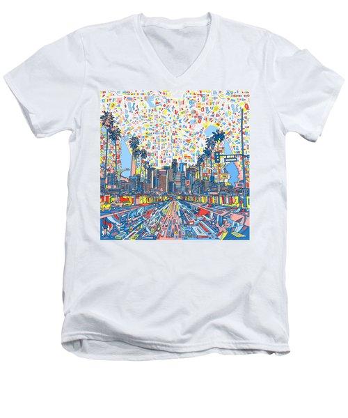 Los Angeles Skyline Abstract 3 Men's V-Neck T-Shirt