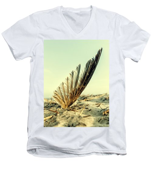 Lost Feather At The Beach Men's V-Neck T-Shirt by Mike Santis