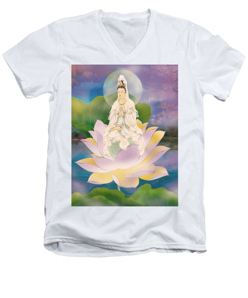 Lotus-sitting Avalokitesvara  Men's V-Neck T-Shirt by Lanjee Chee