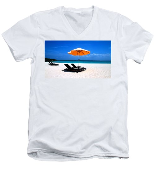 Men's V-Neck T-Shirt featuring the photograph Lounging By The Sea by Joey Agbayani