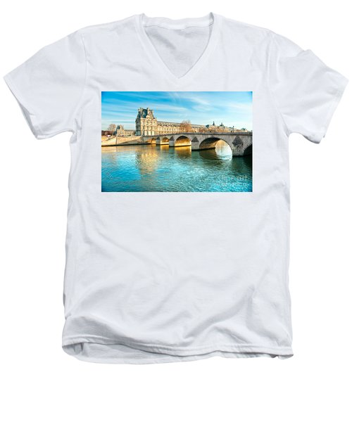 Louvre Museum And Pont Royal - Paris  Men's V-Neck T-Shirt by Luciano Mortula