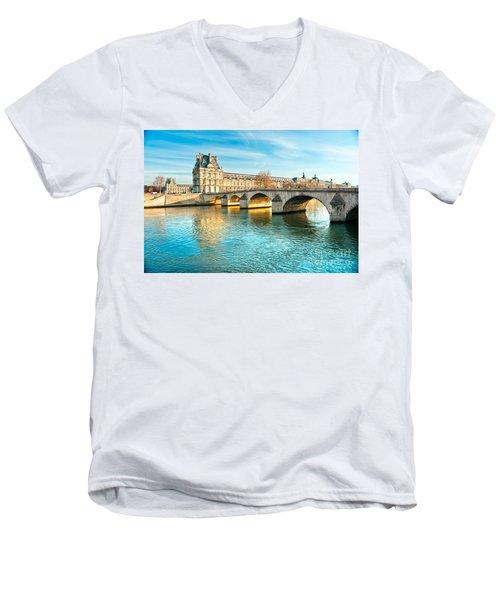 Louvre Museum And Pont Royal - Paris  Men's V-Neck T-Shirt