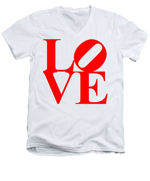 Love 20130707 Red White Men's V-Neck T-Shirt