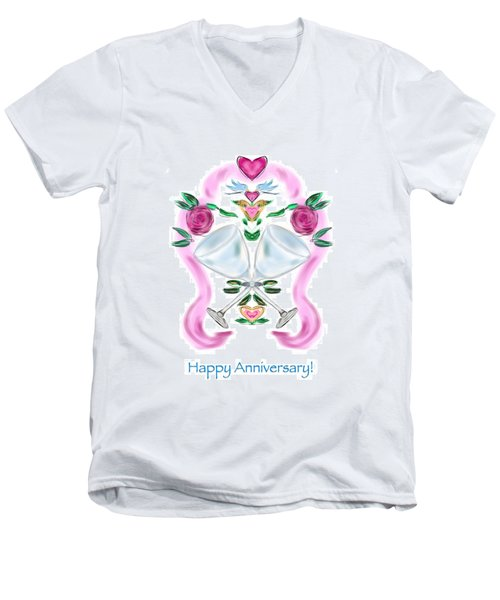 Men's V-Neck T-Shirt featuring the digital art Love Birds Anniversary by Christine Fournier