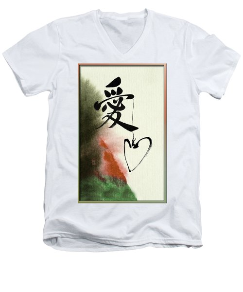 Love Brush Calligraphy With Heart Men's V-Neck T-Shirt