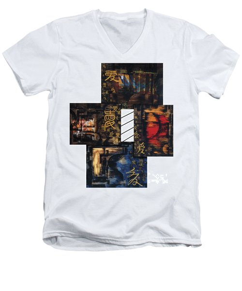Men's V-Neck T-Shirt featuring the painting Love Four Seasons by Fei A