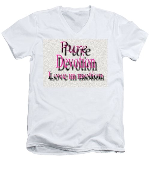 Men's V-Neck T-Shirt featuring the digital art Love In Motion by Catherine Lott