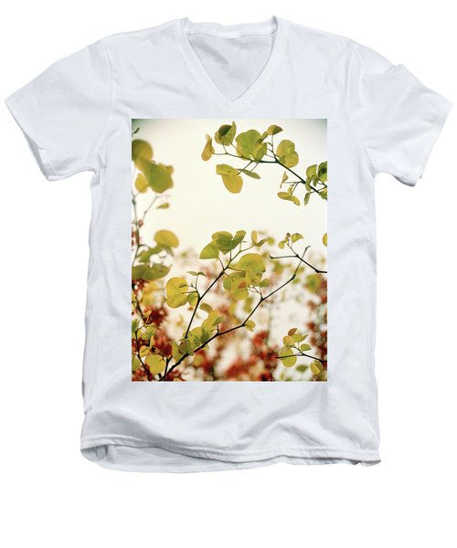 Men's V-Neck T-Shirt featuring the photograph Love Leaf by Rebecca Harman
