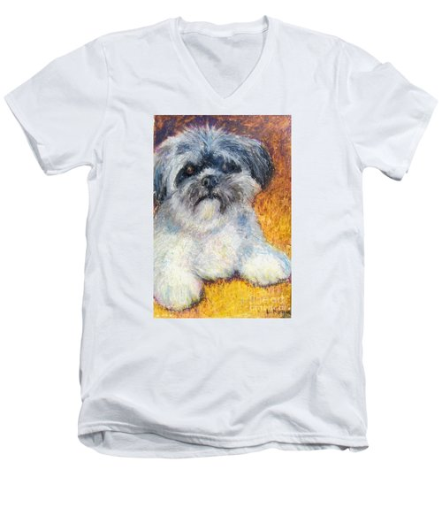 Love My Lhasa Men's V-Neck T-Shirt by Laurie Morgan