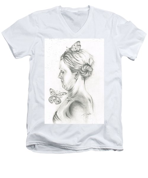 Men's V-Neck T-Shirt featuring the drawing Loves- Her Butterflies by Teresa White