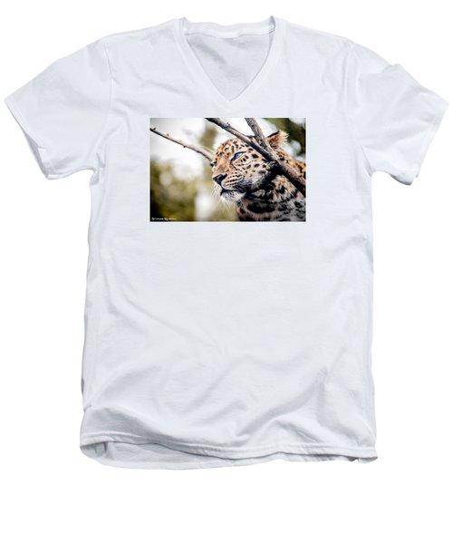 Men's V-Neck T-Shirt featuring the photograph Love Panther Iv by Stwayne Keubrick