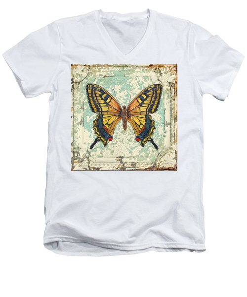 Lovely Yellow Butterfly On Tin Tile Men's V-Neck T-Shirt by Jean Plout