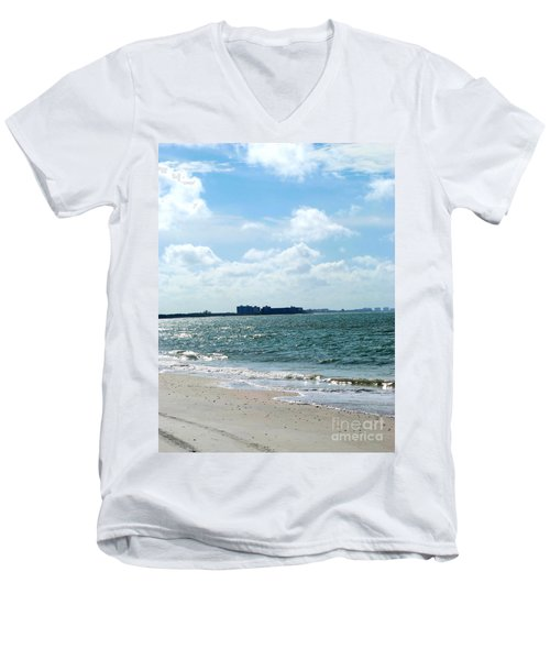 Men's V-Neck T-Shirt featuring the photograph Lovers Key Beach by Oksana Semenchenko