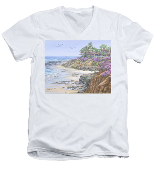 Low Tide Solana Beach Men's V-Neck T-Shirt by Jane Girardot