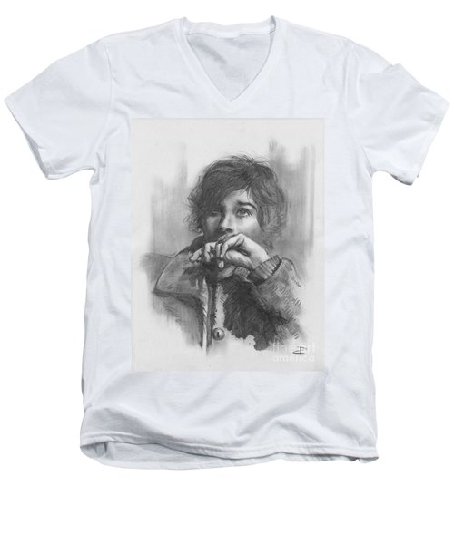 Men's V-Neck T-Shirt featuring the drawing Lucy by Paul Davenport