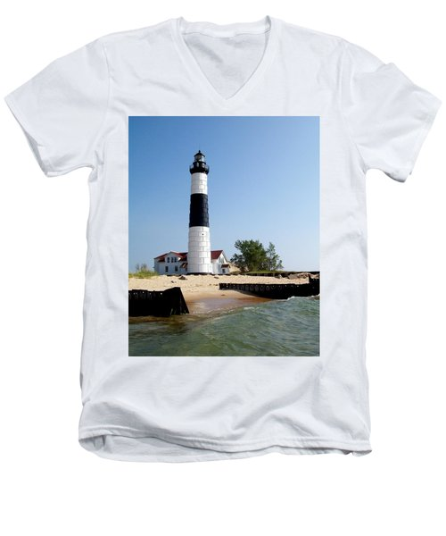 Ludington Michigan's Big Sable Lighthouse Men's V-Neck T-Shirt