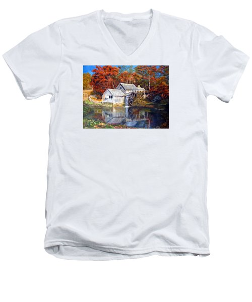 Mabry Mill Blue Ridge Virginia Men's V-Neck T-Shirt by LaVonne Hand