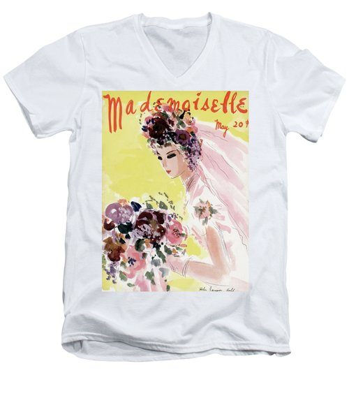 Mademoiselle Cover Featuring A Bride Men's V-Neck T-Shirt