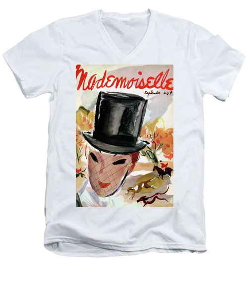 Mademoiselle Cover Featuring A Female Equestrian Men's V-Neck T-Shirt