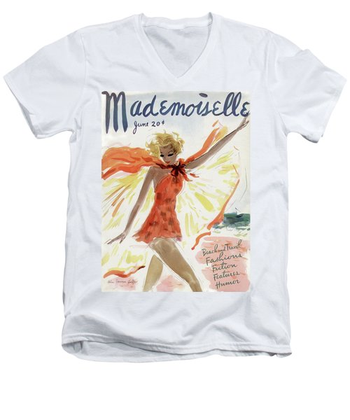 Mademoiselle Cover Featuring A Model At The Beach Men's V-Neck T-Shirt