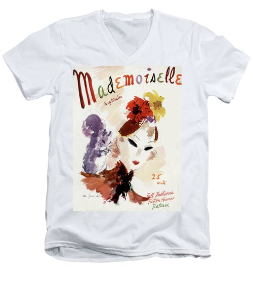 Mademoiselle Cover Featuring A Woman Men's V-Neck T-Shirt