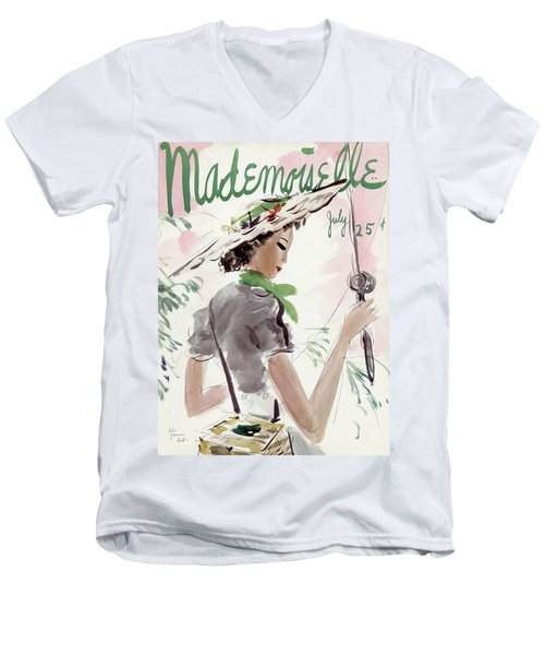 Mademoiselle Cover Featuring A Woman Holding Men's V-Neck T-Shirt