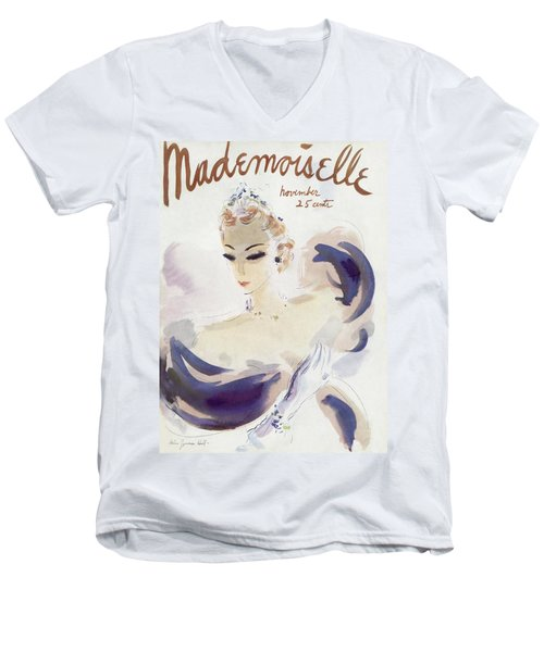 Mademoiselle Cover Featuring A Woman In A Gown Men's V-Neck T-Shirt