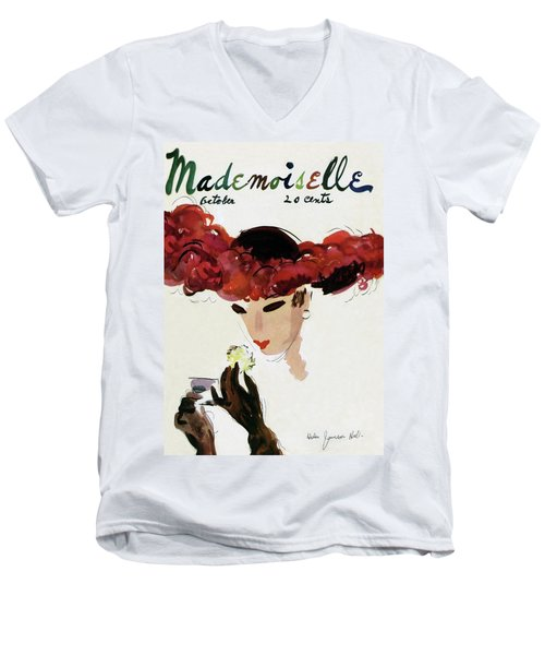 Mademoiselle Cover Featuring A Woman In A Red Men's V-Neck T-Shirt