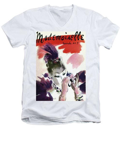 Mademoiselle Cover Featuring A Woman Looking Men's V-Neck T-Shirt