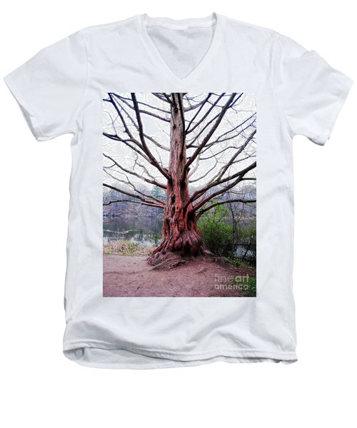 Men's V-Neck T-Shirt featuring the photograph Magic Tree by Nina Silver