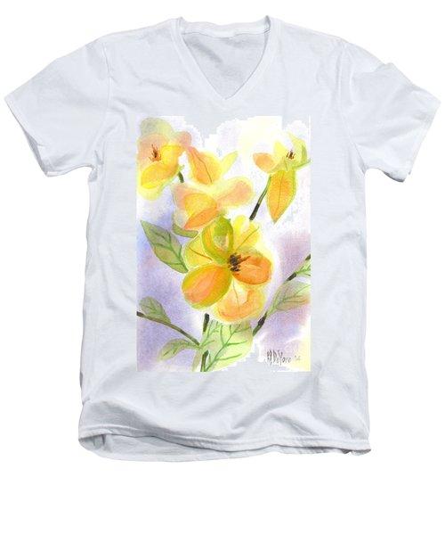 Magnolias Gentle Men's V-Neck T-Shirt by Kip DeVore
