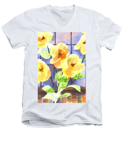 Men's V-Neck T-Shirt featuring the painting Magnolias by Kip DeVore