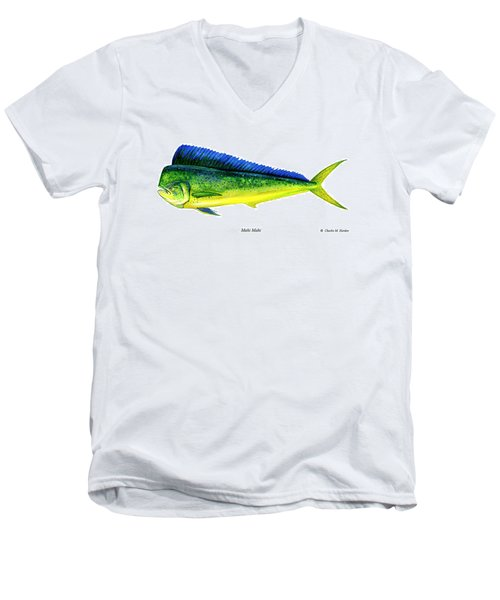 Mahi Mahi Men's V-Neck T-Shirt by Charles Harden