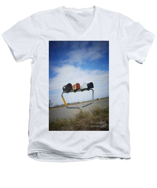 Men's V-Neck T-Shirt featuring the photograph Mailboxes by Erika Weber