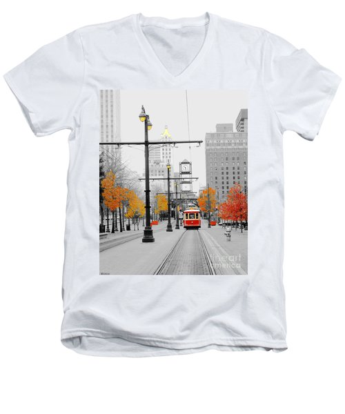 Main Street Trolley  Men's V-Neck T-Shirt by Lizi Beard-Ward