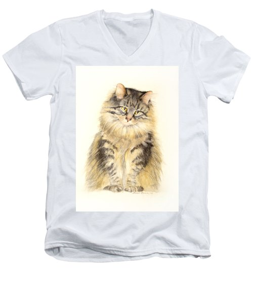 Men's V-Neck T-Shirt featuring the painting Maine Coon Cat by Bonnie Rinier