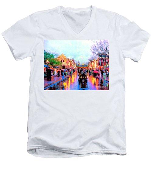 Men's V-Neck T-Shirt featuring the photograph Mainstreet Disneyland by David Lawson