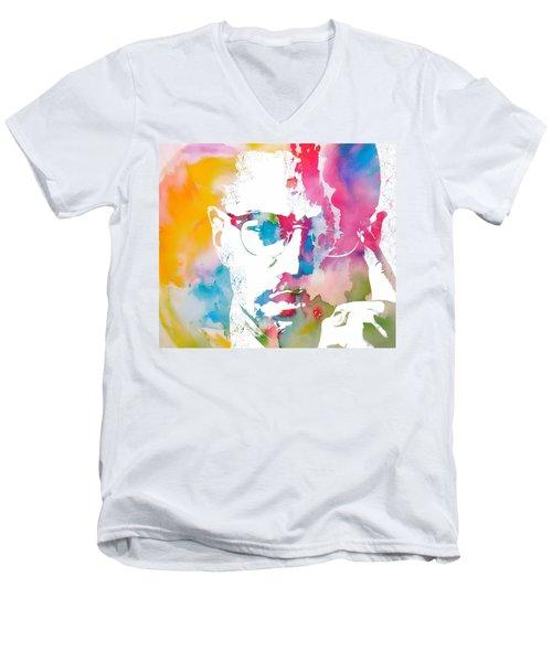 Malcolm X Watercolor Men's V-Neck T-Shirt