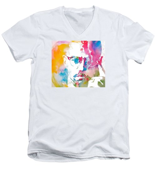 Malcolm X Watercolor Men's V-Neck T-Shirt