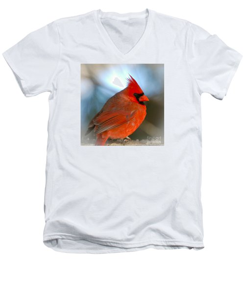 Men's V-Neck T-Shirt featuring the photograph Male Cardinal  by Kerri Farley