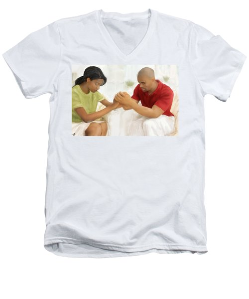 Men's V-Neck T-Shirt featuring the painting Man And Wife Pray by Vannetta Ferguson