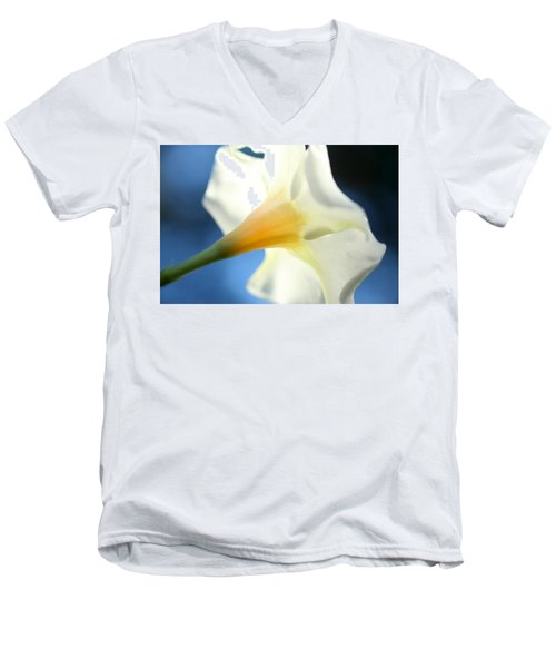 Men's V-Neck T-Shirt featuring the photograph Mandevilla by Greg Allore