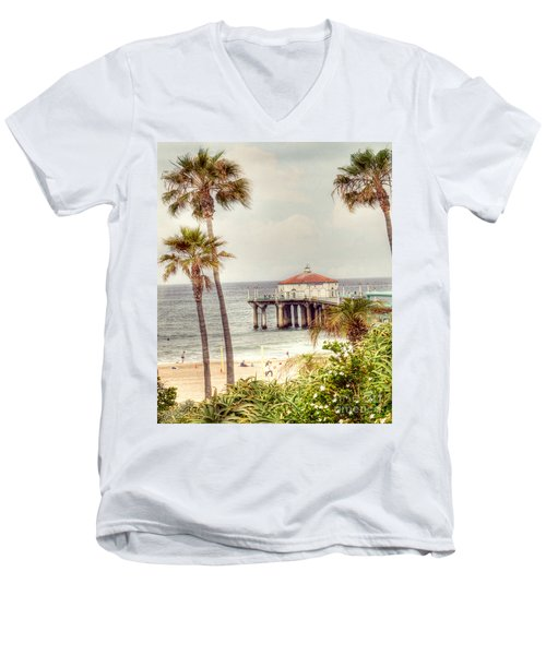 Manhattan Beach Pier Men's V-Neck T-Shirt