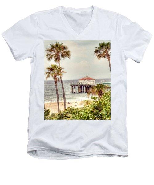 Manhattan Beach Pier Men's V-Neck T-Shirt by Juli Scalzi