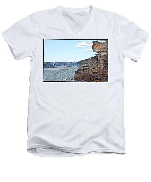 Men's V-Neck T-Shirt featuring the photograph Manly Ferry Passing By  by Miroslava Jurcik